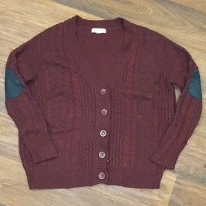 Olive & Oak Maroon V Neck Cardigan w Elbow Patches